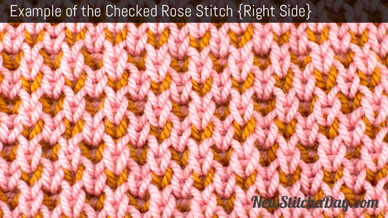 How to Knit the Checked Rose Stitch. (Right Side)