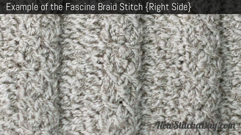 Example of the Fascine Braid Stitch. (Right Side)