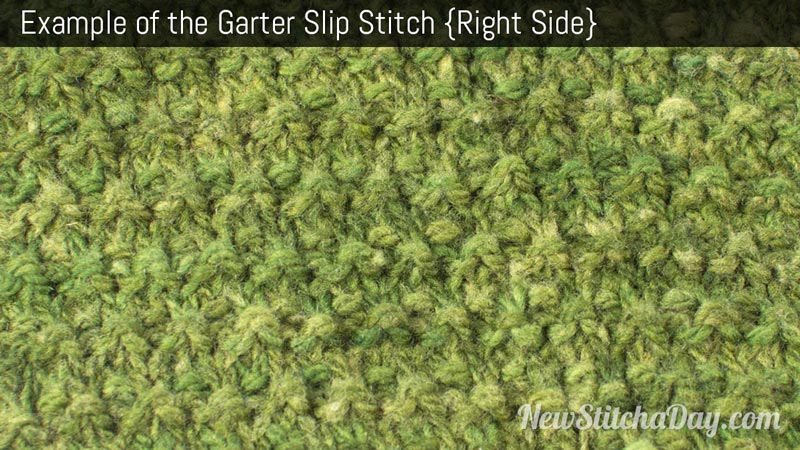 Example of the Garter Slip Stitch. (Right Side)