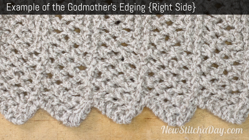 Example of the Godmothers Edging Stitch. (Right Side)