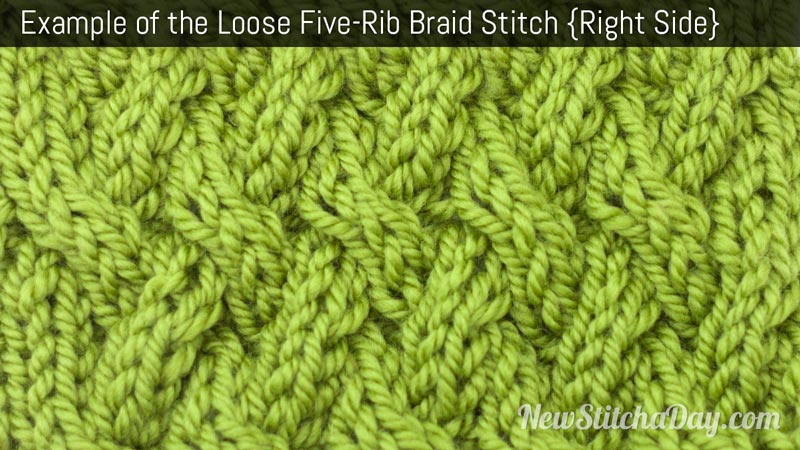 Example of the Loose Five Rib Braid Stitch. (Right Side)