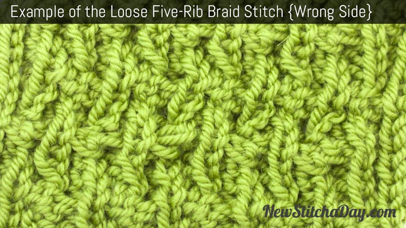Example of the Loose Five Rib Braid Stitch. (Wrong Side)