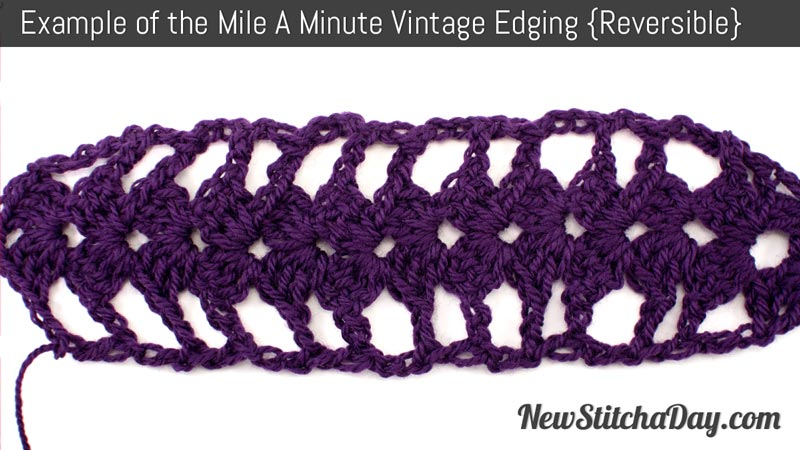 Crochet Stitches Mile A Minute : Example of the Mile a Minute Vintage Edging. Reversible (Click for ...