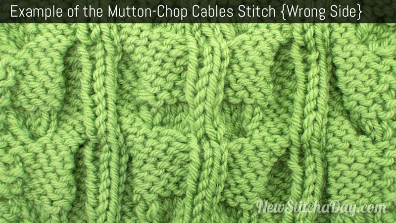 Example of the Mutton-Chop Cables Stitch. (Wrong Side)