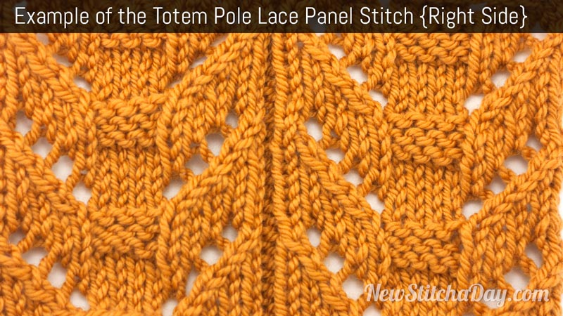 Example of the Totem Pole Lace Panel Stitch. (Right Side)