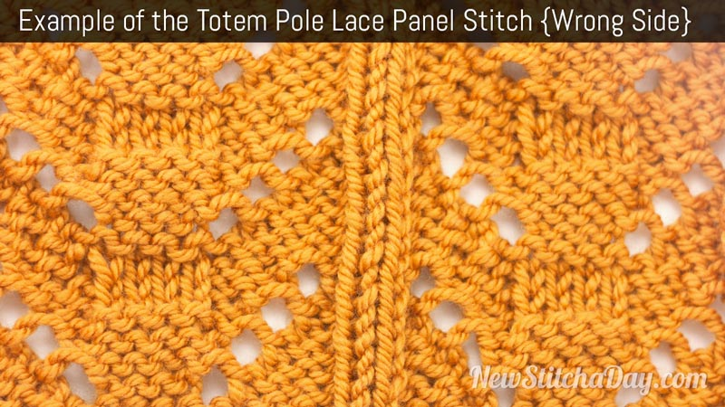 Example of the Totem Pole Lace Panel Stitch. (Wrong Side)