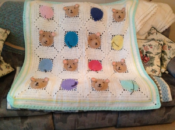 Dixie-bears and ballons baby blanket