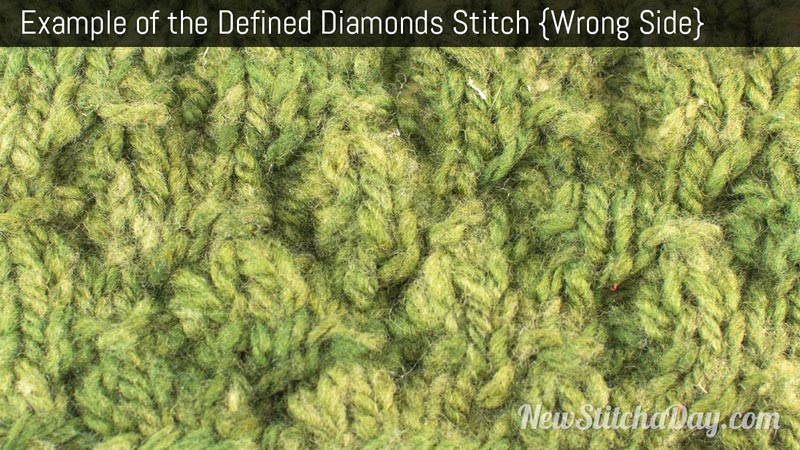 Example of the Defined Diamond Stitch. (Wrong Side)