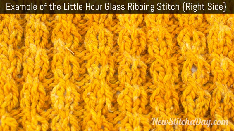 Example of the Little Hour Glass Ribbing Stitch. (Right Side)