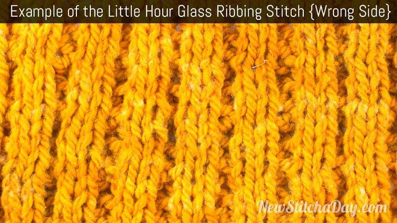 Example of the Little Hour Glass Ribbing Stitch. (Wrong Side)