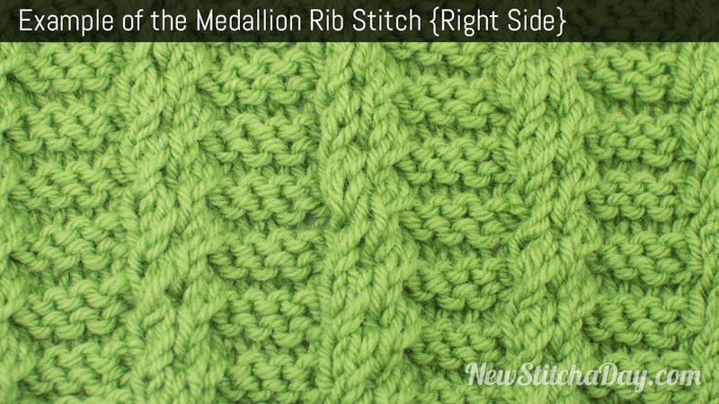 Example of the Medallion Rib Stitch. (Right Side)