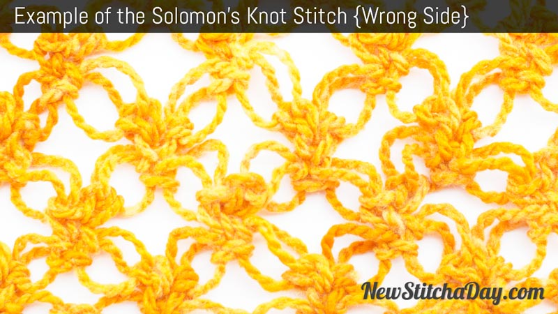 Example of the Solomon's Knot Stitch. (Wrong Side)