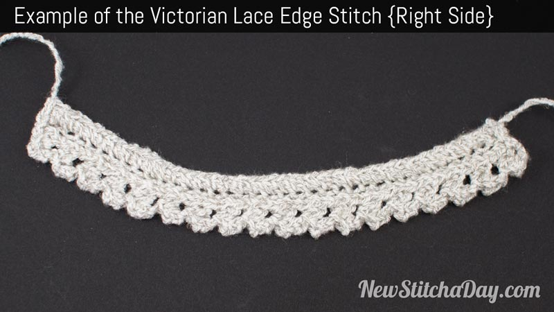Example of the Victorian Lace Edge Stitch. (Right Side)