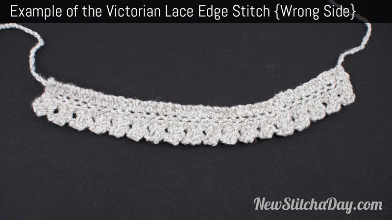 Example of the Victorian Lace Edge Stitch. (Wrong Side)