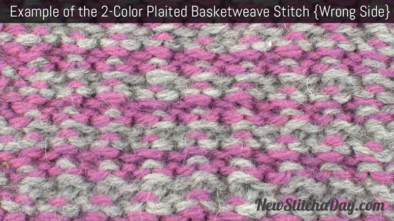 Example of the Two Color Plaited Basketweave Stitch. (Wrong Side)
