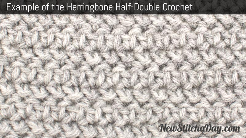 Example of the Herringbone Half Double Crochet Stitch. (Reversible)