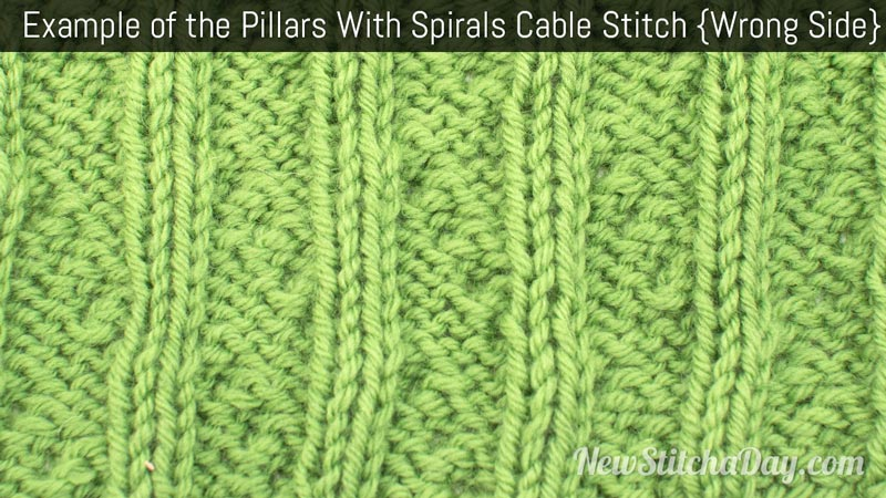 Example of the Pillars With Spirals Cable Stitch. (Wrong Side)