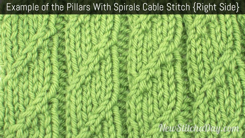 Example of the Pillars With Spirals Cable Stitch. (Right Side)