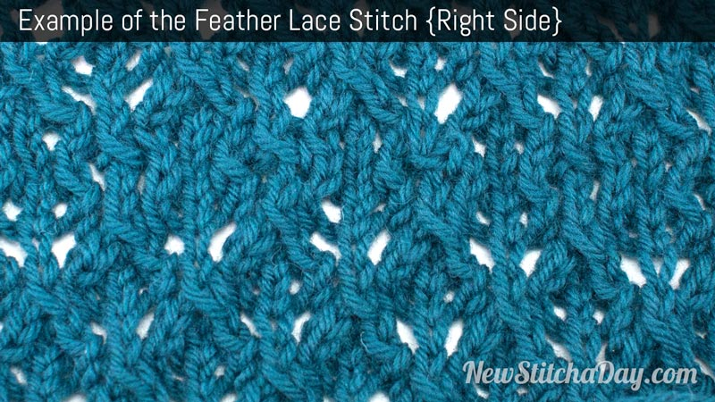 Example of the Feather Lace Stitch. (Right Side)