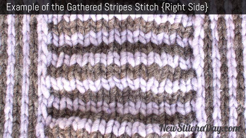 Knitting Gathered Stitches : Example of the Gathered Stripes Stitch. (Right Side)