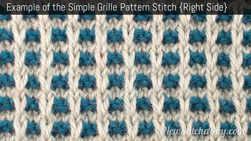 Example of the Simple Grille Pattern Stitch. (Right Side)