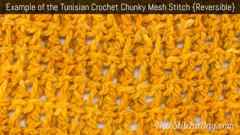 Example of the Tunisian Crochet Chunky Mesh Stitch. (Reversible)