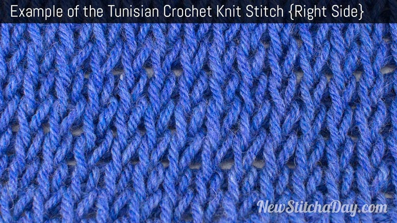 Example of the Tunisian Knit Stitch. (Right Side)