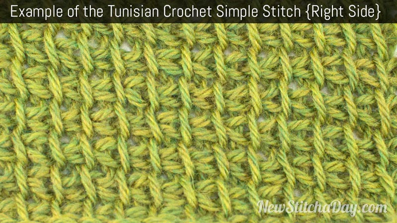 Example of the Tunisian Crochet Simple Stitch. (Right Side)