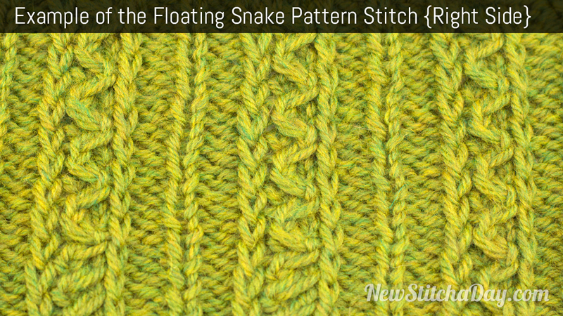 Example of the Floating Snake Pattern Stitch. (Right Side)