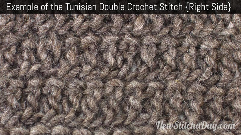 Example of the Tunisian Double Crochet Stitch. (Right Side)