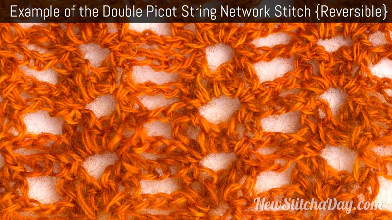 Example of the Double Picot String Network Stitch. (Reversible)