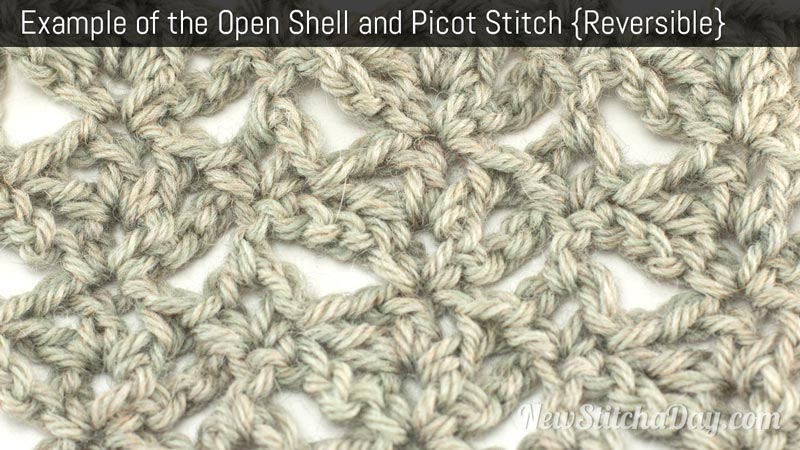 Example of the Open Shell and Picot Stitch. (Reversible)