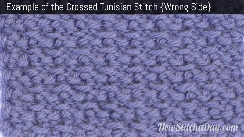 Example of the Crossed Tunisian Stitch. (Wrong Side)