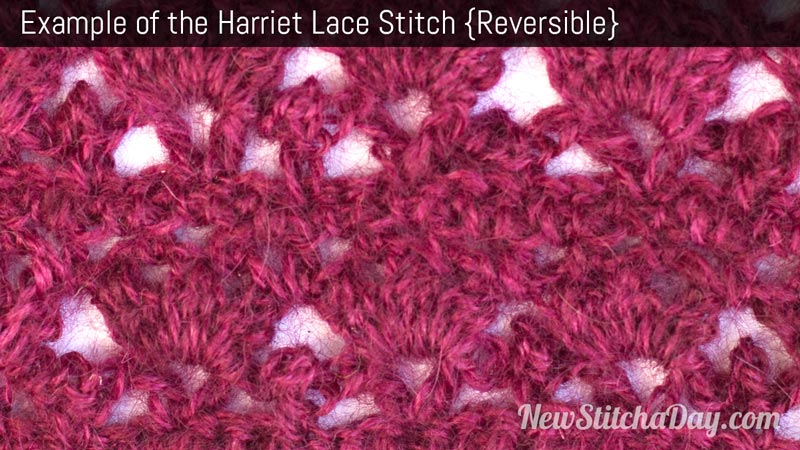 Example of the Harriet Lace Stitch. (Reversible)