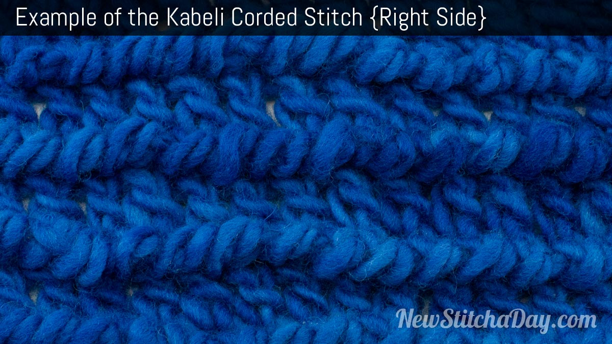 Example of the Kabeli Corded Stitch. (Right Side)