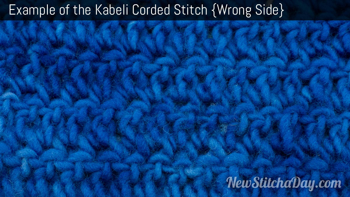 Example of the Kabeli Corded Stitch. (Wrong Side)