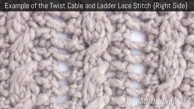 Knitting Stitches Right Twist : Twist Cable & Ladder Lace :: Knitting Stitch :: New Stitch A Day