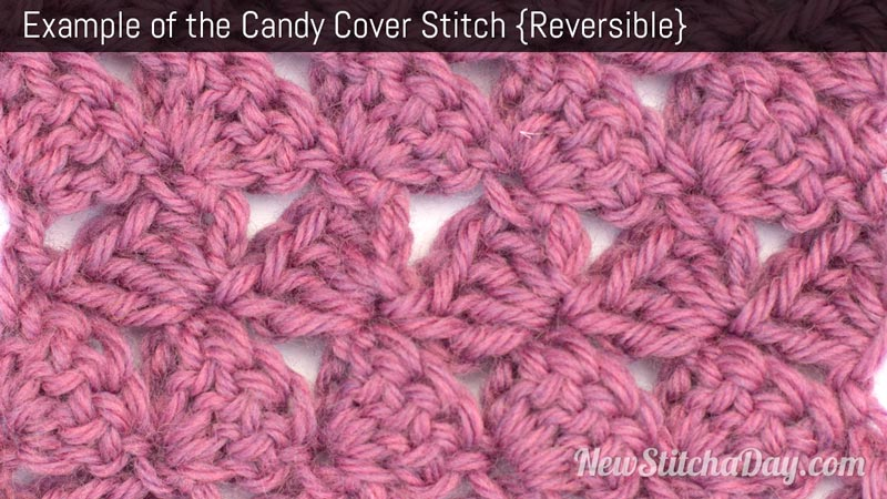 Example of the Candy Cover Stitch. (Reversible)