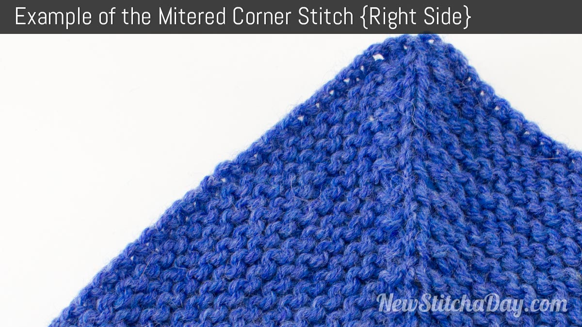 Example of the Garter Mitered Corner Stitch. (Right Side)