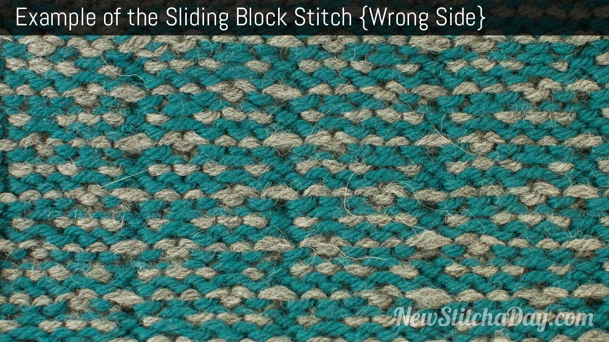 Example of the Sliding Block Stitch. (Wrong Side)