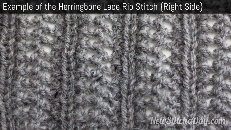 Example of the Herringbone Lace Rib Stitch Right Side