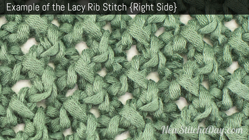 Example of the Lacy Rib Stitch. (Right Side)