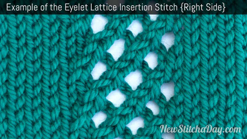Example of the Eyelet Lattice Insertion Stitch. (Right Side)
