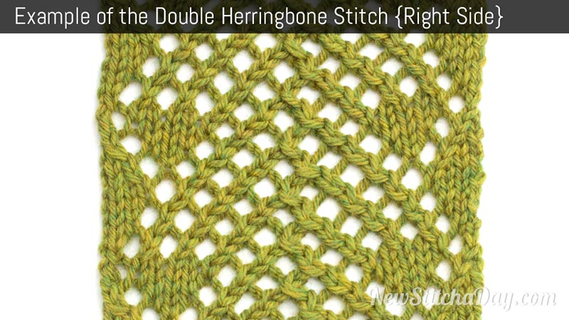 Example of the Double Herringbone Mesh Stitch. (Right Side)