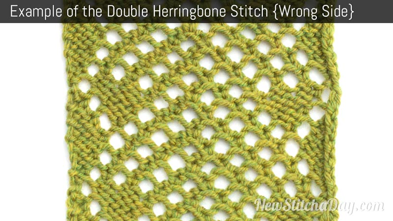 Example of the Double Herringbone Mesh Stitch. (Wrong Side)